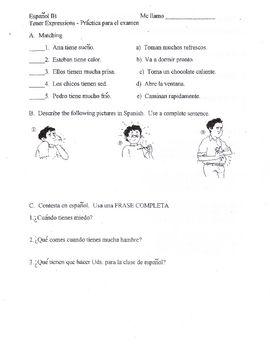Spanish Worksheet for Tener Expressions | Spanish Teacher ...
