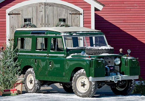 "Today's Christmas Cheer! - What better way to fetch the family tree and make the rounds shopping,  needcaffeine:    This 1959 Land Rover Series II Model 109 ($82,000 and up; Auction) is certainly among those, with seating for ten, a ""tropical"" roof, tank-like construction that's even more robust than the cheaper follow-up Series IIA model, and a like-new condition thanks to a full restoration by well-known Land Rover enthusiast Lanny Clark, using only original parts. (via 1959 Land Rover…"