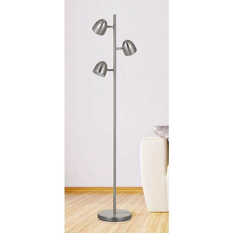 Larsen Brushed Steel 3 Light Led Tree Floor Lamp 40v10 Lamps Plus Tree Floor Lamp Floor Lamp Led Lights