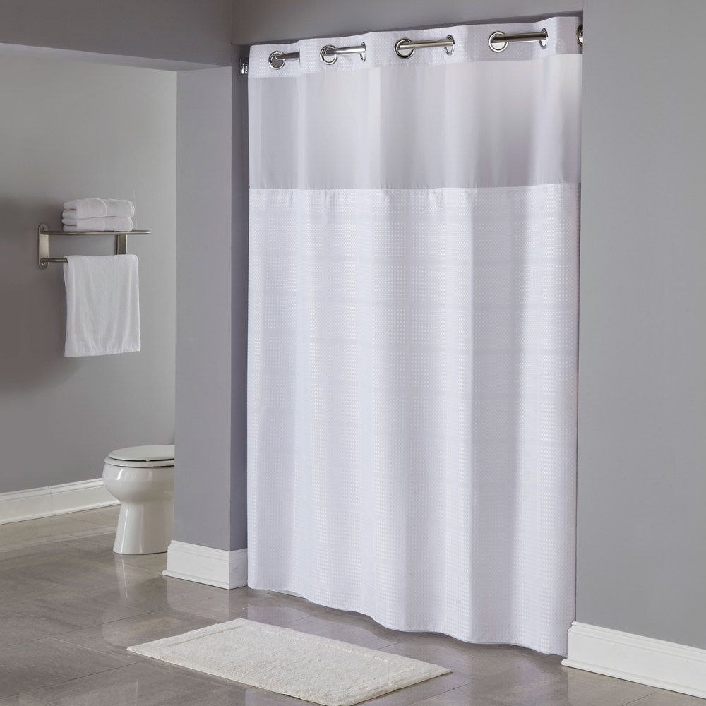 Hookless White Repet One Planet Alexandria Shower Curtain With