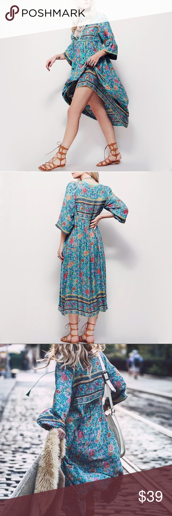 """💠NEW💠""""Blaire"""" Boho Gypsy Maxi Dress, S-XL 💠Material: chiffon. 💠Color: turquoise. 💠Size: refer to chart 💠Feature: tassel tie, floral print, 3/4 sleeves, maxi 💠Care: can be machine washed. 💠This is wholesale price, ❌trade ❌low ball 💠Please allow 3-4 business days of handling. Thank you! Dresses Maxi"""