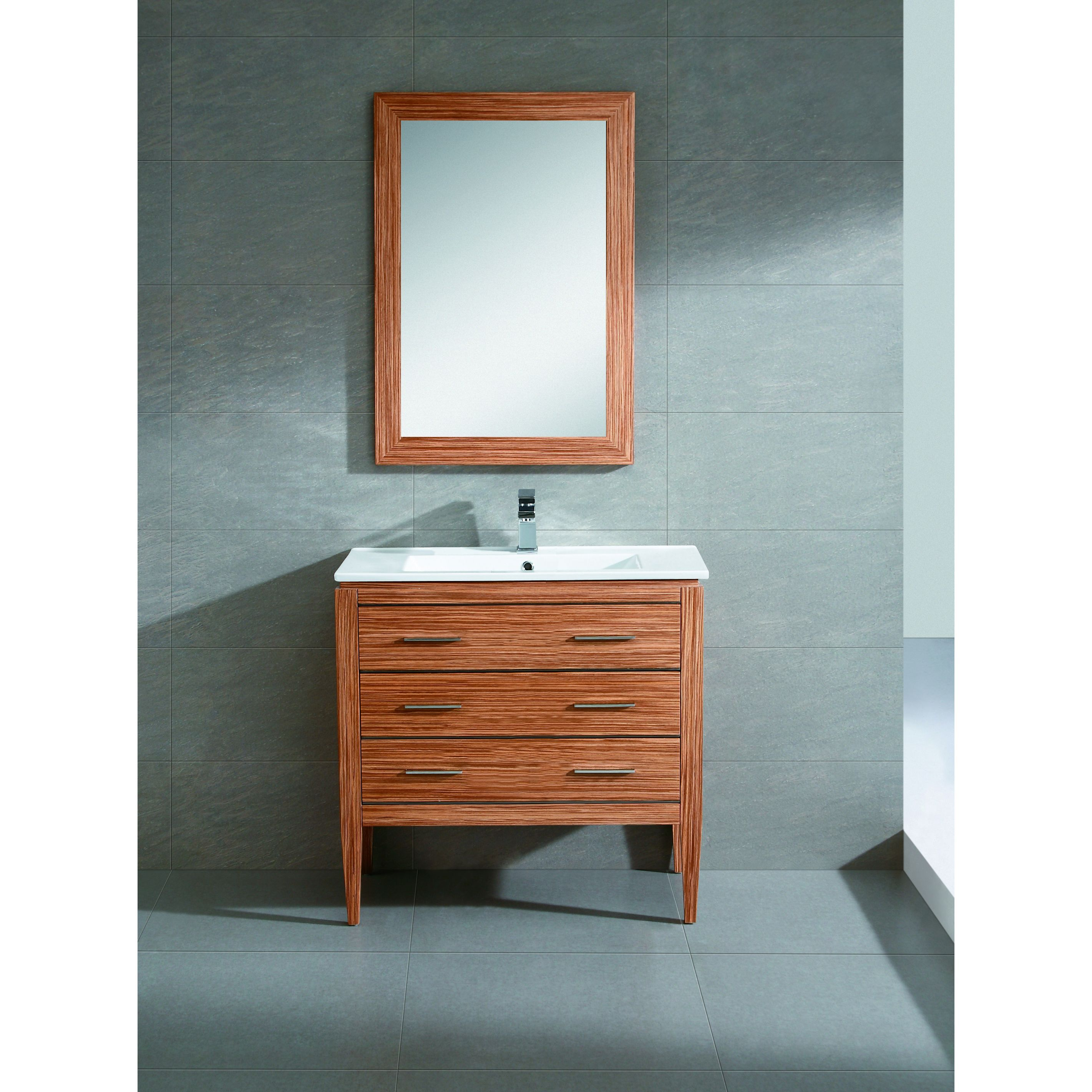 This set features a matching mirror, beautiful white vitreous China ...