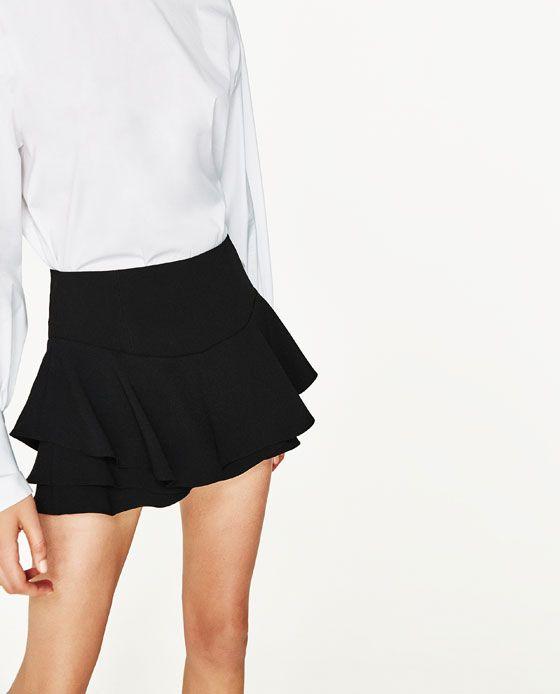 Womens Skorts Ladies Mini Skirt Frill Shorts High Waisted Ruffle Layer Skort
