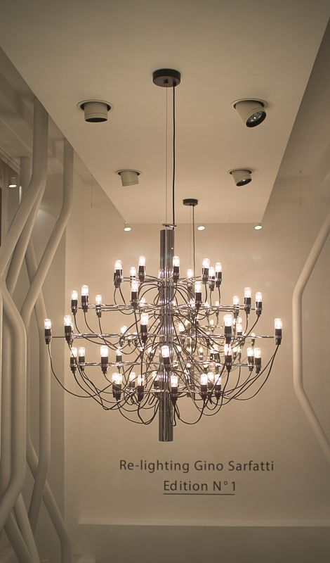 Flos Moroso Showroom Gino Sarfatti Modelo 2097 Chandelier London Design Festival Party Homedoubler