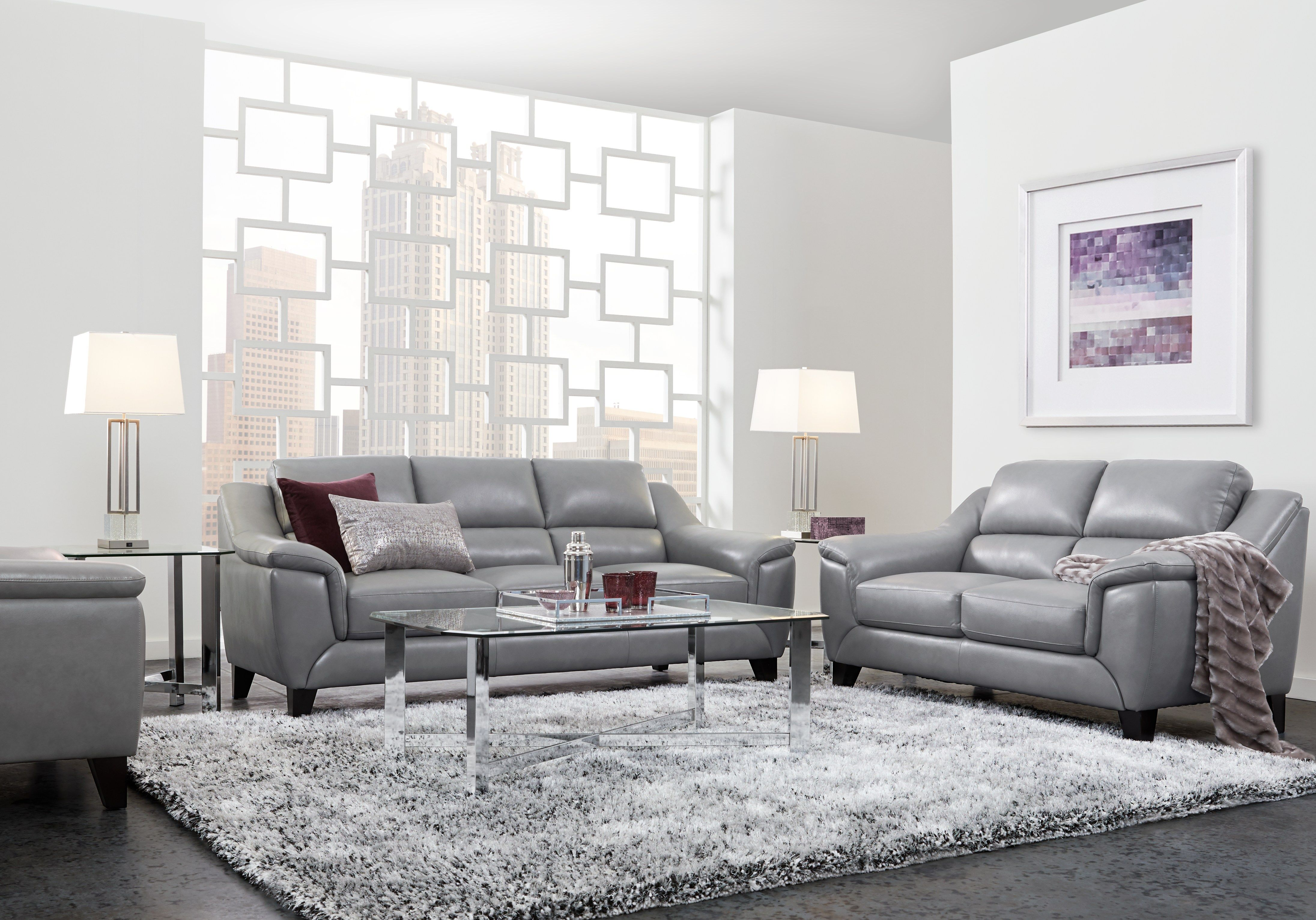 Marielle Gray Leather 3 Pc Living Rooms To Go Living Room Sets
