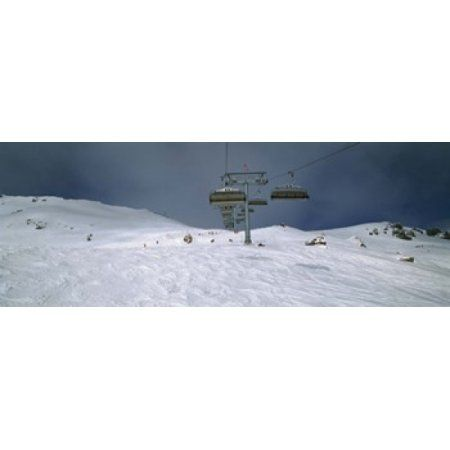 Ski lift over a polar landscape Lech ski area Austria Canvas Art - Panoramic Images (36 x 13)