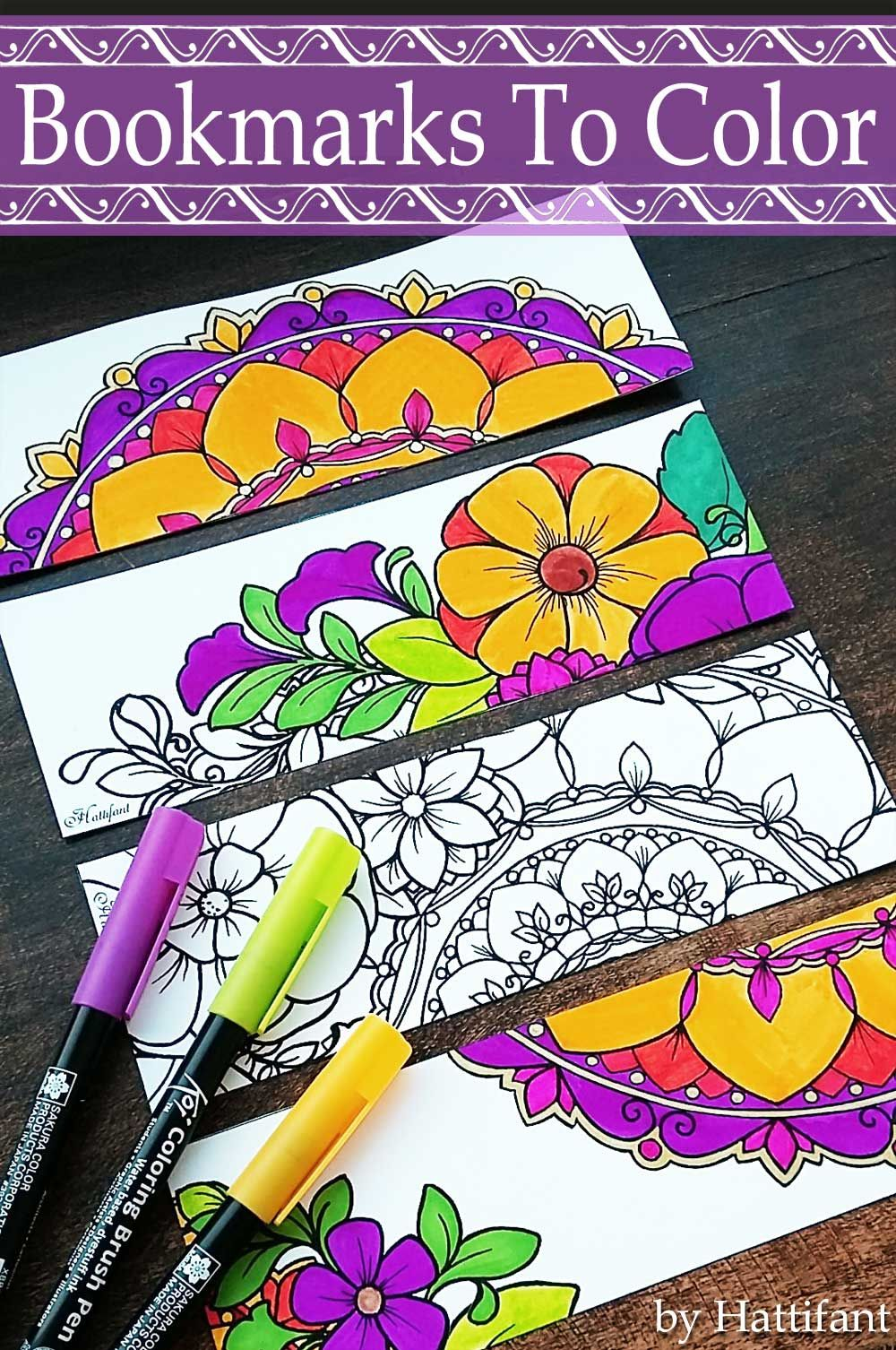 Hattifant\'s Flower and Mandala Bookmarks to color free printable ...