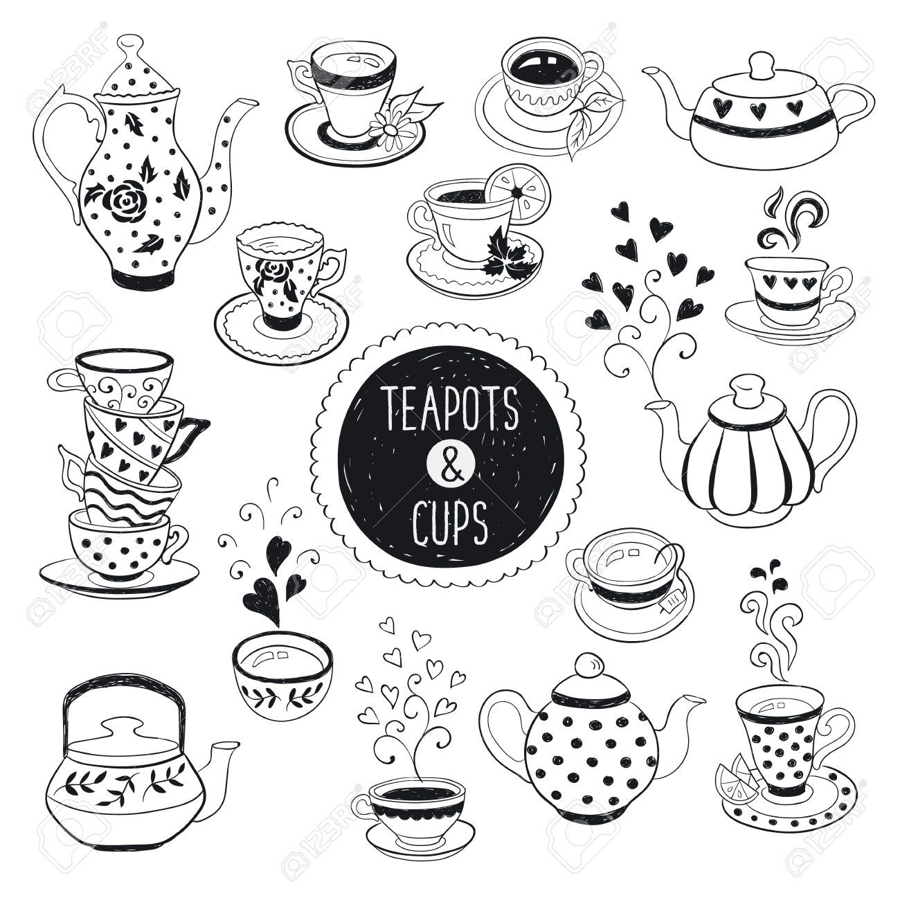 Hand Drawn Teapot And Cup Collection Doodle Tea Cups