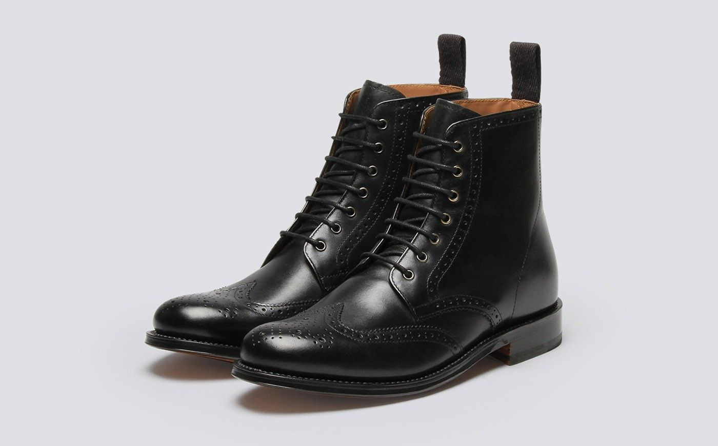 Womens Derby Boot in Black Calf Leather