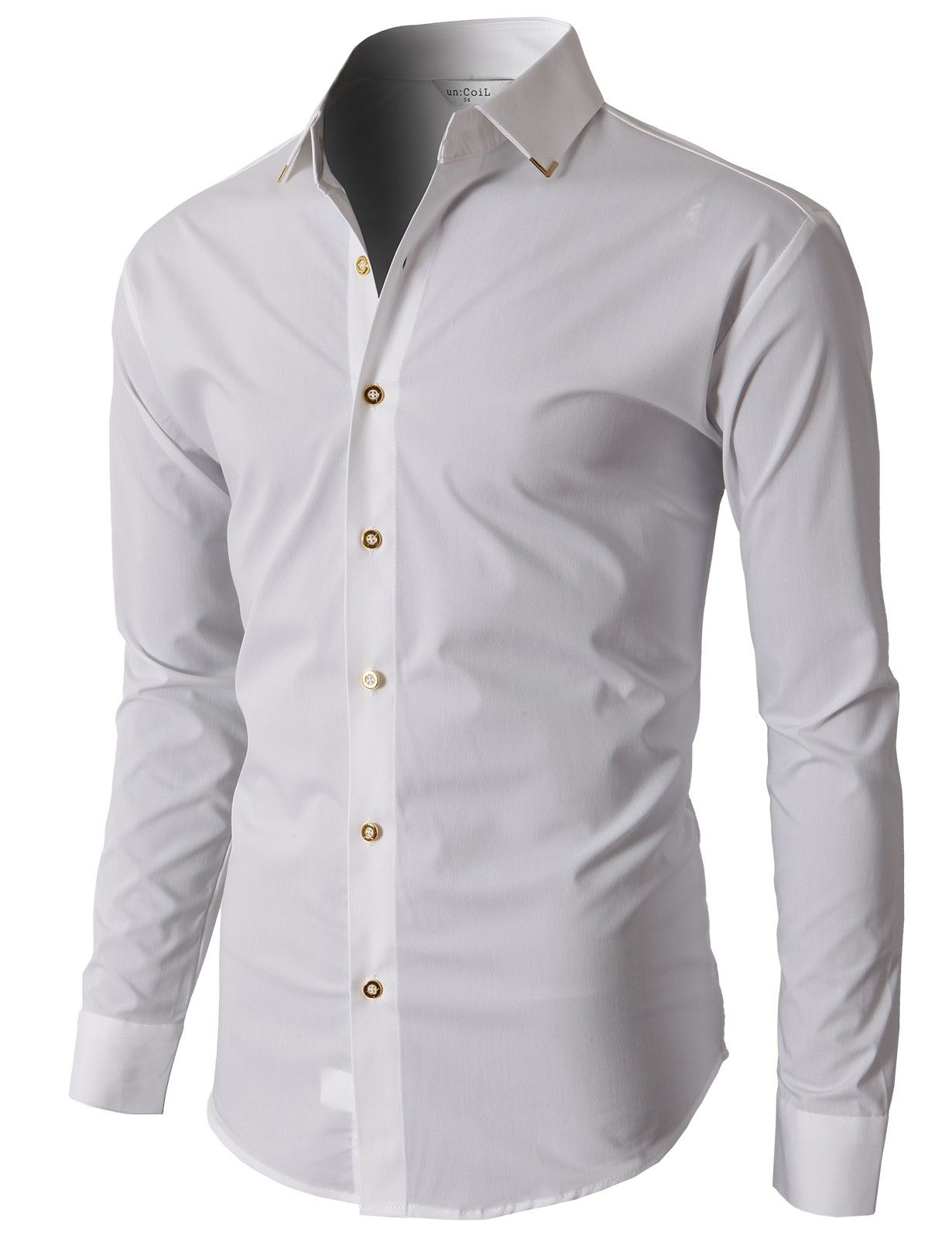 Doublju Mens Dress Shirts With Gold Pointed Collar And Gold Button