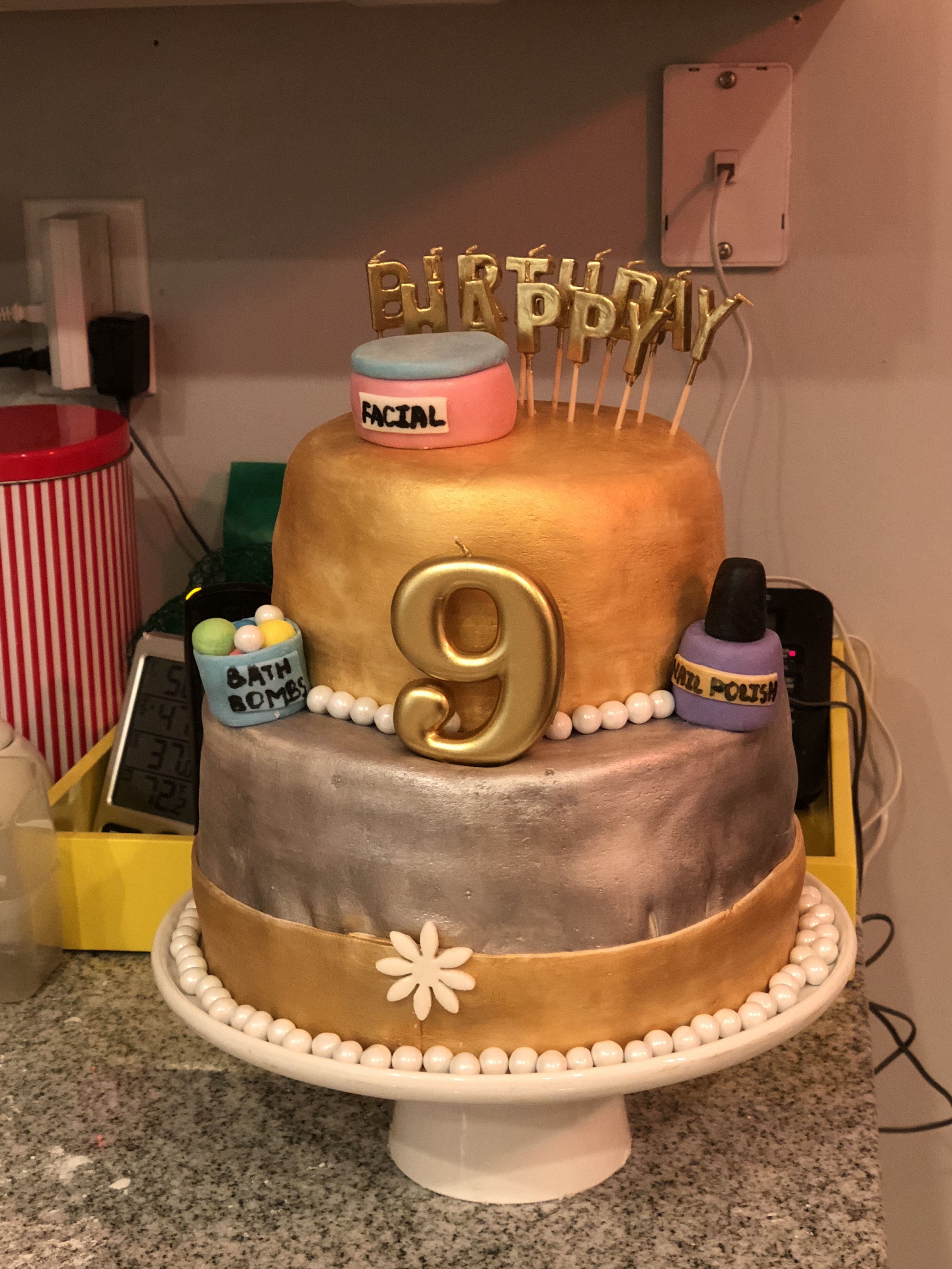 Spa Themed Birthday Cake For A 9 Year Old My Daughter Made The Bath