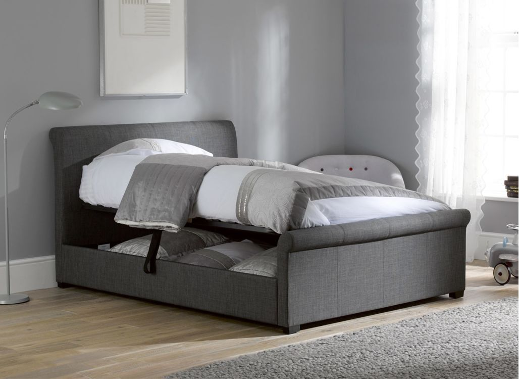 Best Wilson Upholstered Ottoman Bed Frame Grey Bed Frame 640 x 480