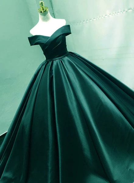 Green Satin Off Shoulder Prom Gowns, Prom Dress, Charming Party Gowns