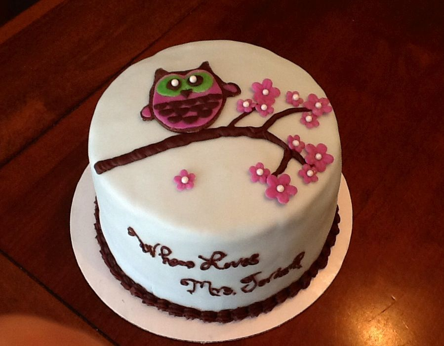 Owl teacher appreciation cake. Chocolate cake with homemade marshmallow filling, chocolate ganache, homemade fondant, and modeling chocolate decorations,