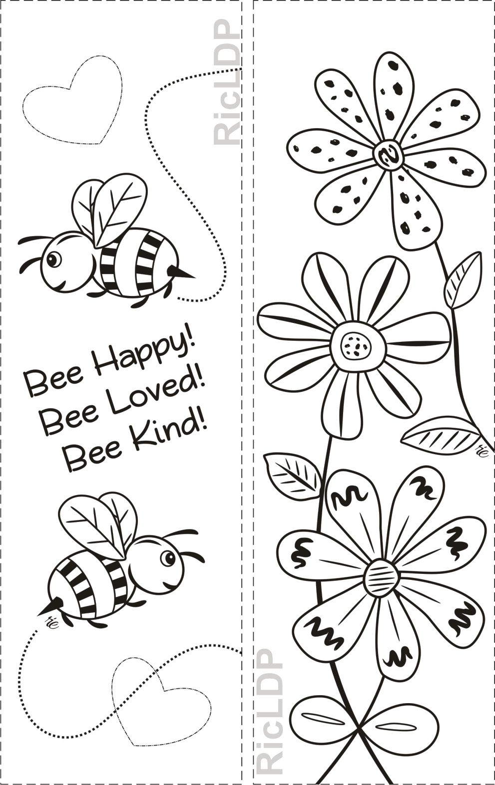 Free Three Coloring Bookmarks With Simple Designs Coloring Bookmarks Bee Coloring Pages Free Printable Bookmarks