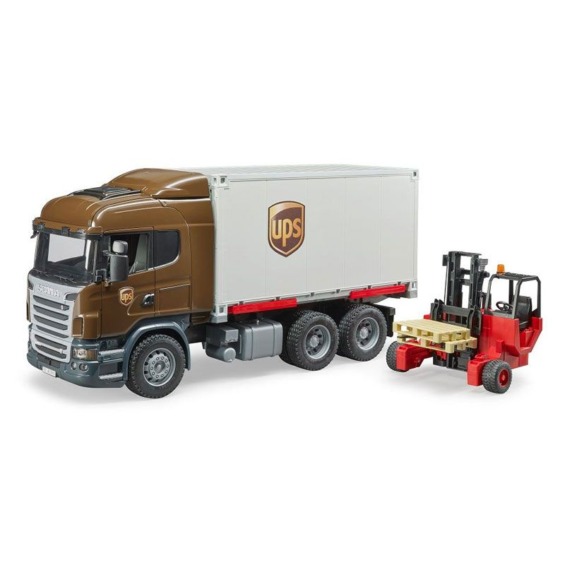 1 16 Scania R Series Ups Truck With Forklift By Bruder Trucks Toy Trucks Forklift