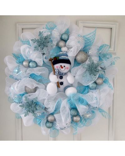 24 Inch Deco Mesh Wreath With A Cute Little Snowman In The