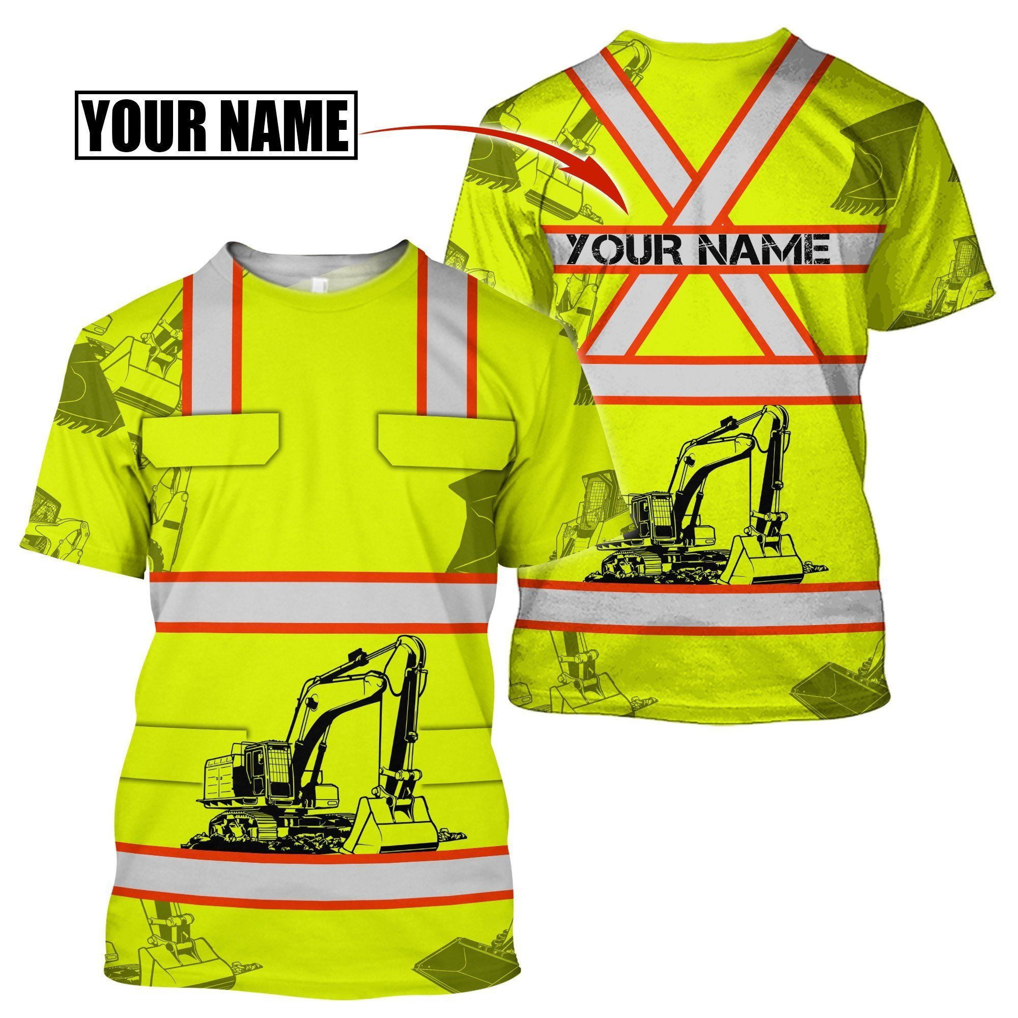 Customize Name Heavy Equipment Operator 3D All Over Printed Unisex Shirt - T-Shirt / 4XL
