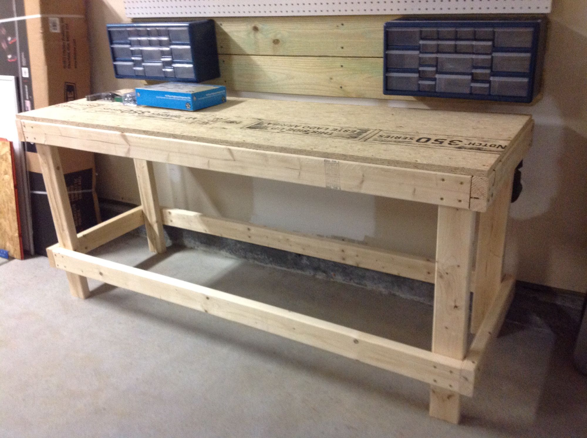 2 x 6 workbench for less then 30 i used 2x4s for the frame and left over 34 osb subfloor from my attic project for the top - Workbench Frame
