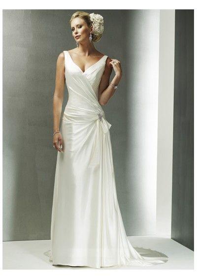 USD$119.54 - Casual Vintage Wedding Dresses V Neck Chapel Train Nake ...