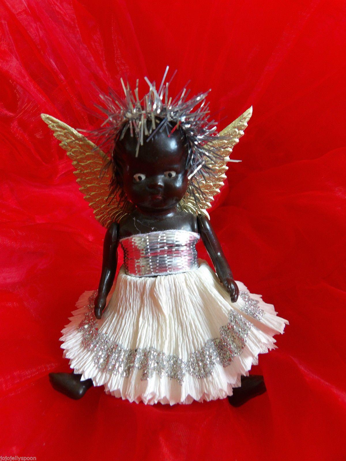 "Little 4"" Hard Plastic Black Baby Doll. Fairy Angel"