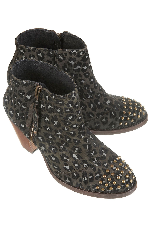AMALIE Leopard Studded Boots - Boots - Shoes - Topshop