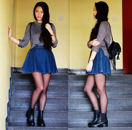 Chelsea Boots, Rucksack, Denim Circle Skirt | lookbook | Pinterest ...