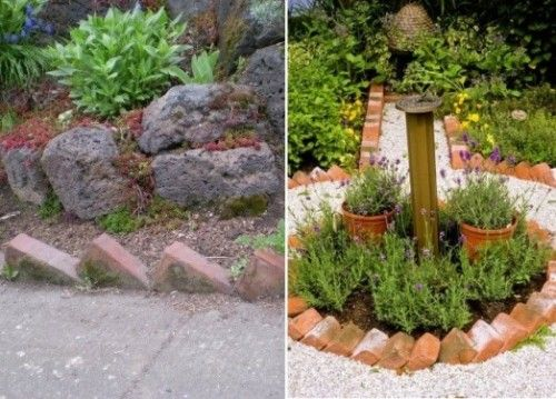 13 Ideas Con Ladrillos Para El Jardin Bordes De Jardin De Ladrillo Jardines Decoraciones De Jardin