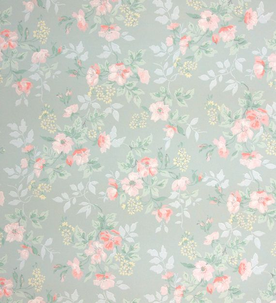 Vintage wallpaper flowers  1940's vintage wallpaper little pink flowers by HannahsTreasures ...