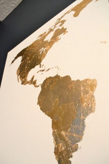 Pinterest Challenge: Gold Leaf Map Art | DIY | Gold diy, Art ... on map art diy, basketball party pinterest, summer arts and crafts pinterest, map art print, map art design, map art tumblr, alice in wonderland cake pinterest, map art flowers, map art love, map art google,