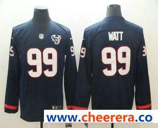 c213e02b2 Men s Houston Texans  99 J.J. Watt Nike Navy Therma Long Sleeve Limited  Jersey