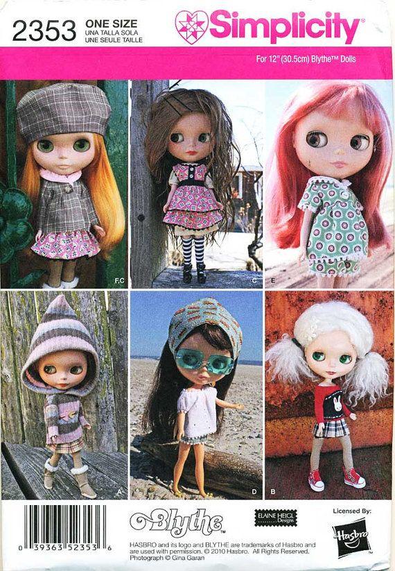 E PATTERN Blythe Doll Pattern SIMPLICITY 2353 by digitaldolly, $4.29