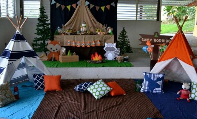 feature-Boys Woodland Themed Party Camping Decorations  Outdoor