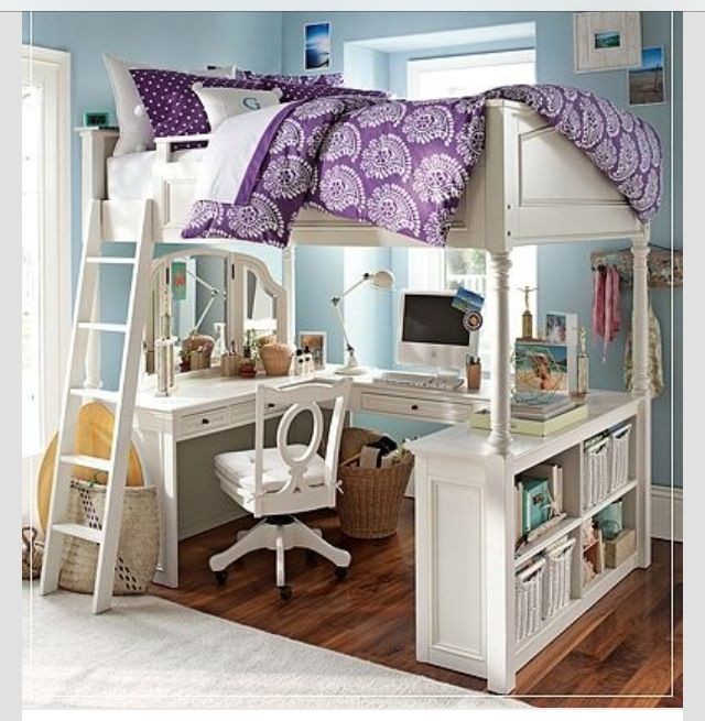 Loft Bed With Desk And Vanity Underneath I Love This But I Can T Find Where To Get This Bed With Desk Underneath Girls Bedroom Furniture Bunk Bed With Desk