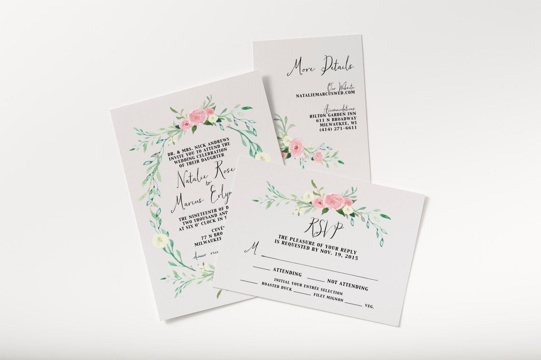 Printable rustic wedding invitation set floral watercolor wedding