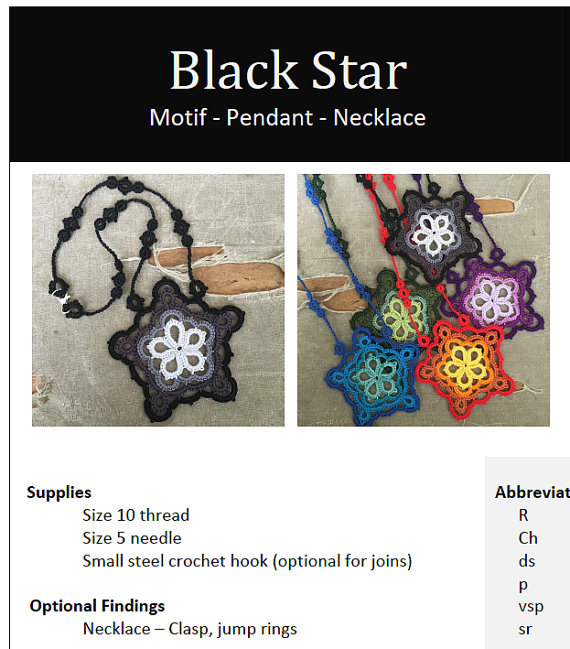 PDF Tatting Pattern Black Star  Pendant  Necklace