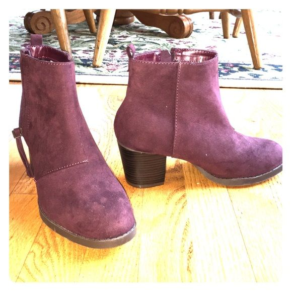 Purple suede booties These booties have only been worn once and they are in great condition! Old Navy Shoes Ankle Boots & Booties
