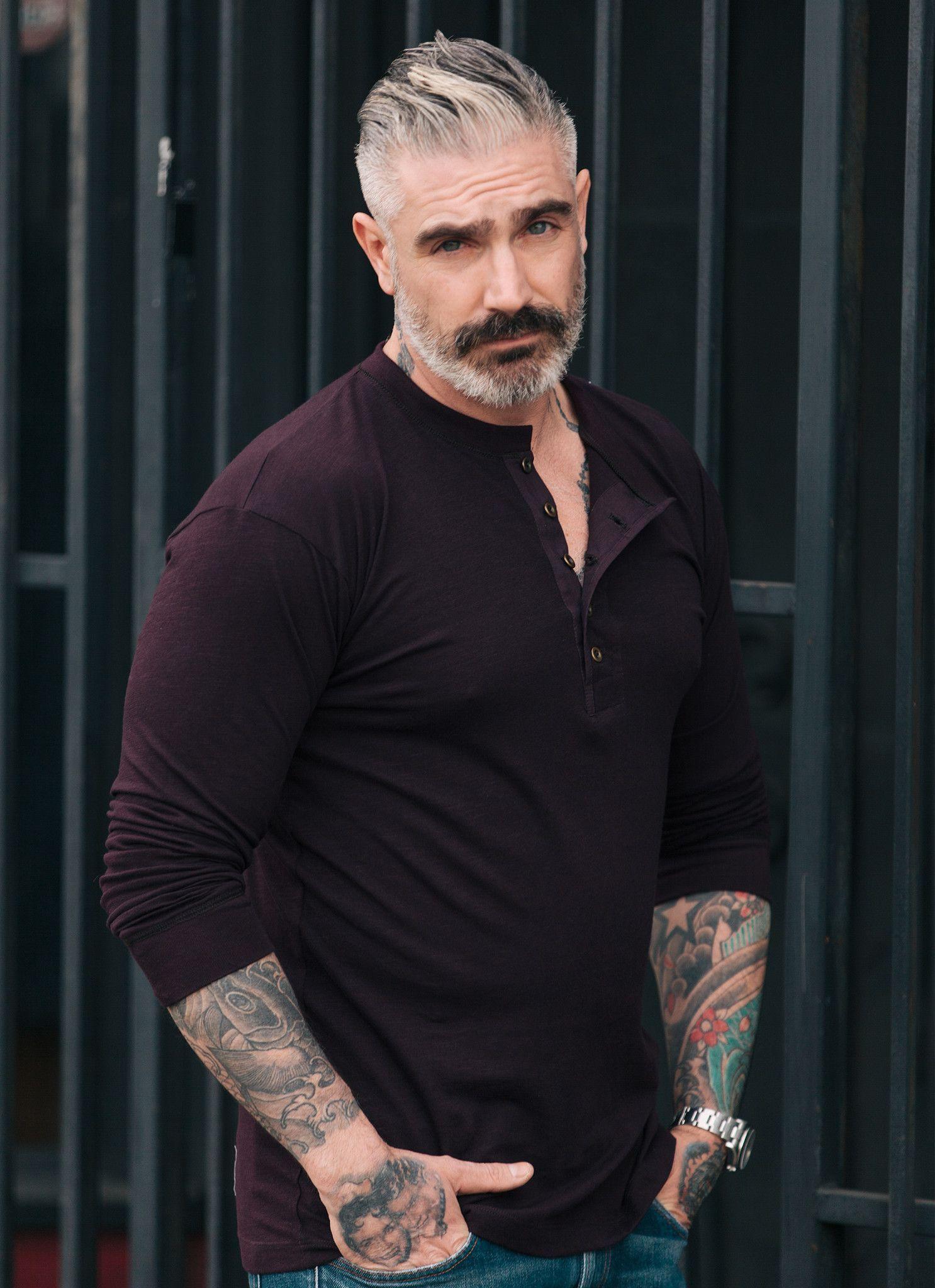 Mens long haircut original long sleeve henley  henleys man style and menus fashion