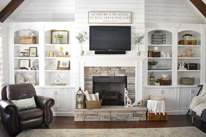 Farmhouse Living Room With Stone And Shiplap Fireplace Shiplap