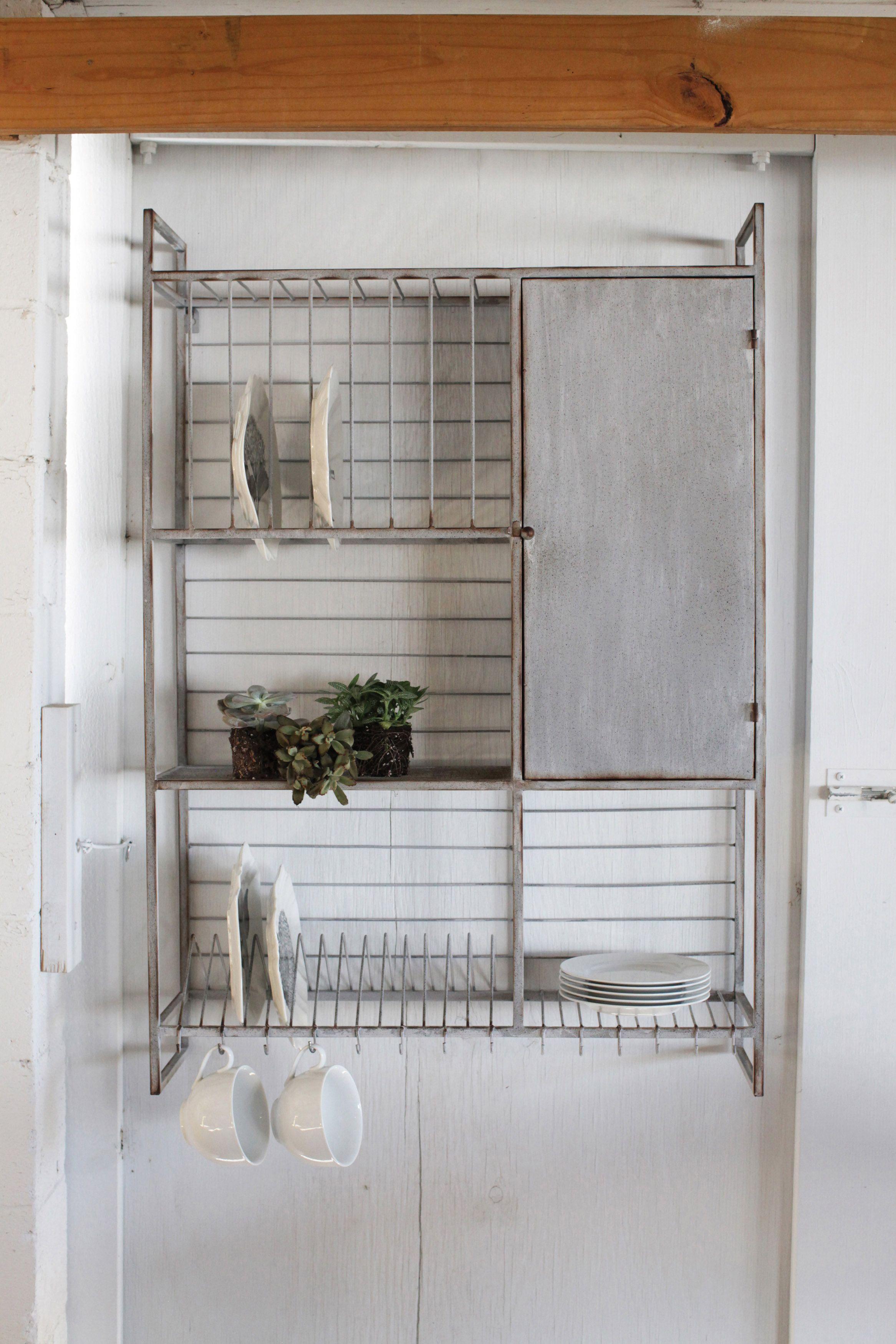 Distressed Metal Wall Rack with Shelves u0026 by ICandyforthehome & The G.Miles Files 31-3/4u2033L x 46u2033H Metal Wall Rack w Shelves u0026 Hooks ...