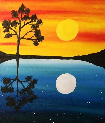 Day Into Night Reflection Paisaje En 2019 Peinture