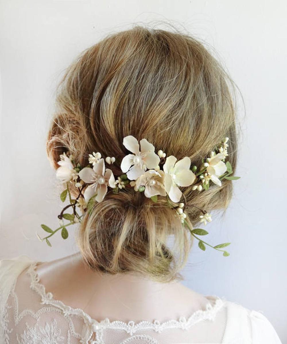 bridal hair piece, bridal headpiece, floral headpiece wedding, cream, floral bridal hair clip, bridal hair vine, fall wedding, ivory flower