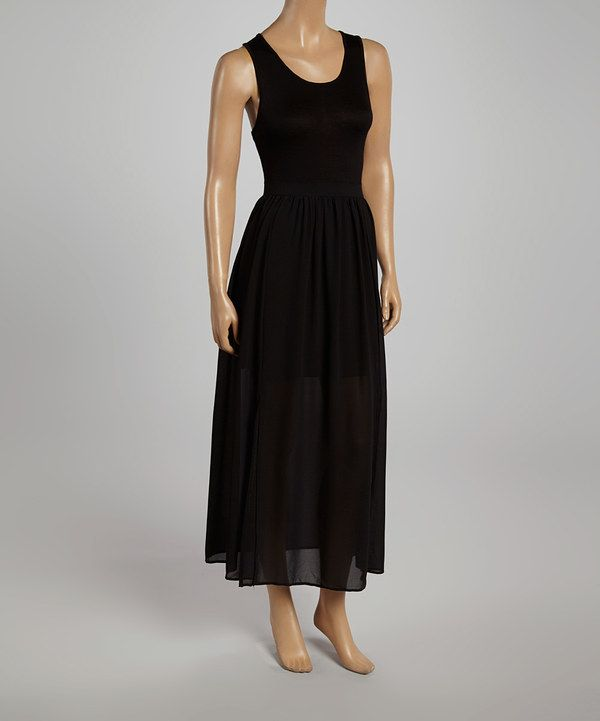 5a10795cc17 Look at this Zenana Black Sleeveless Maxi Dress on  zulily today ...