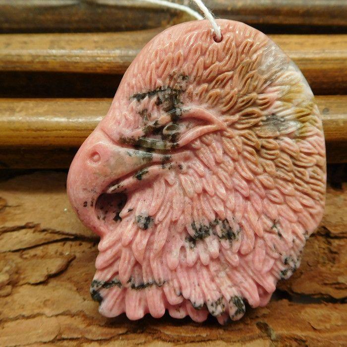 Natural Rhodonite Carved Raven Pendant Bead (G0943)