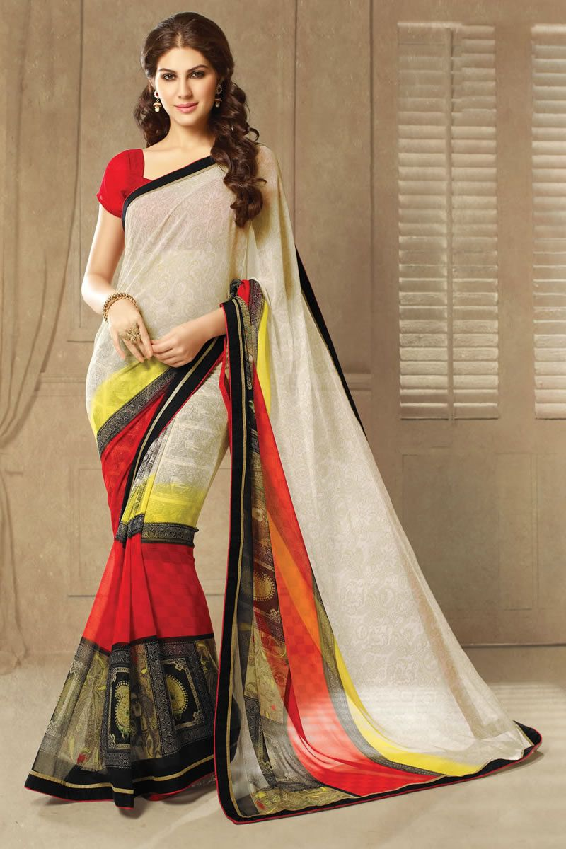 Off saree model images off white designer party wear sarees from onlinesareessshopping
