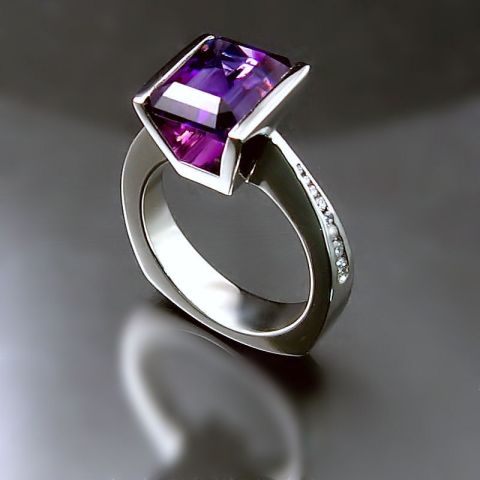 Purple Ring modern white gold Amethyst diamond ring Unique