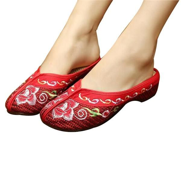 baf2961d1ac CHINESE EMBROIDERED SHOES FOR WOMEN IN RED FLORAL DESIGN   VENTILATED COTTON