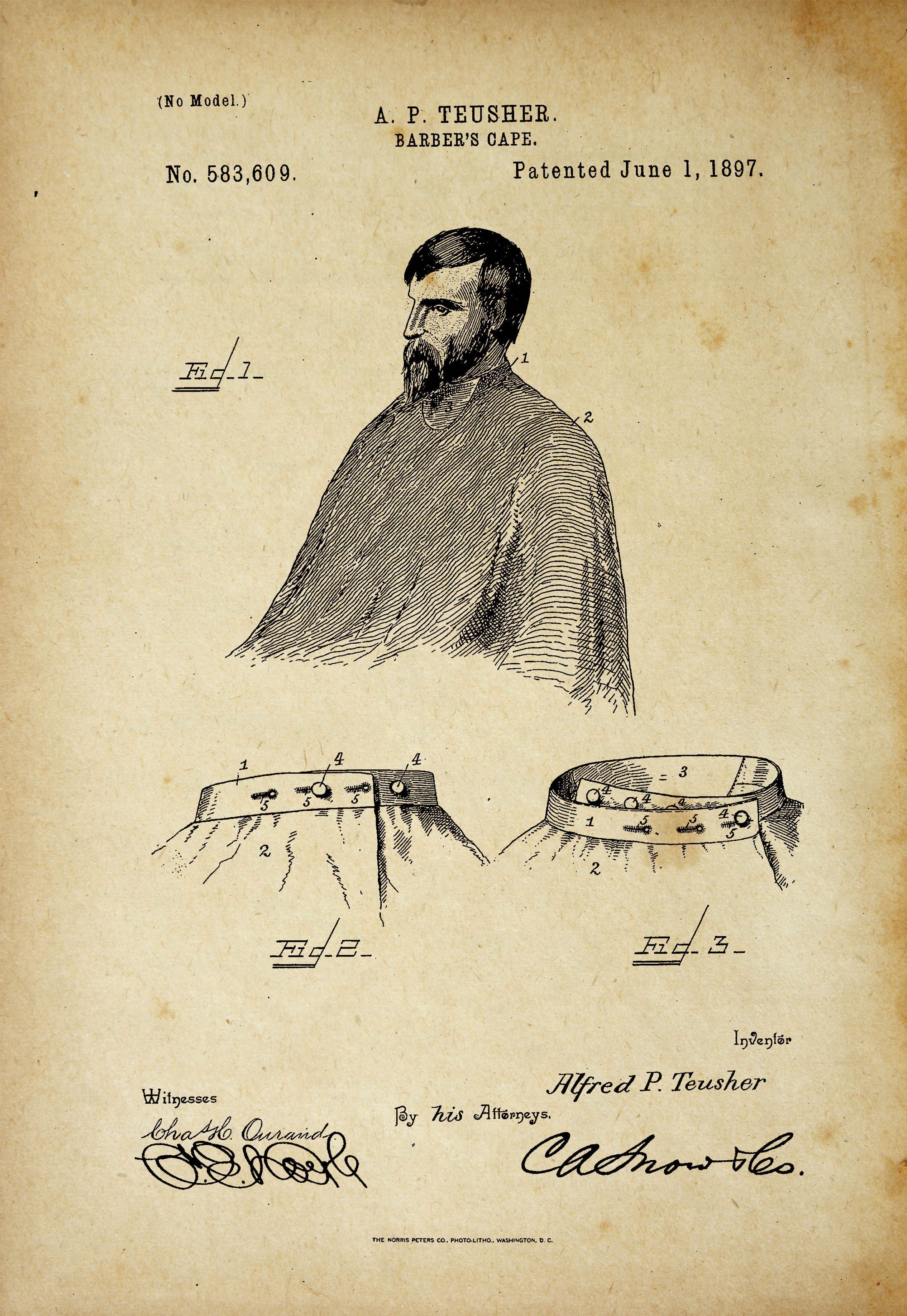 Barber\'s Cape Antique Patent Poster Old Look | Cape, Wall decor and ...