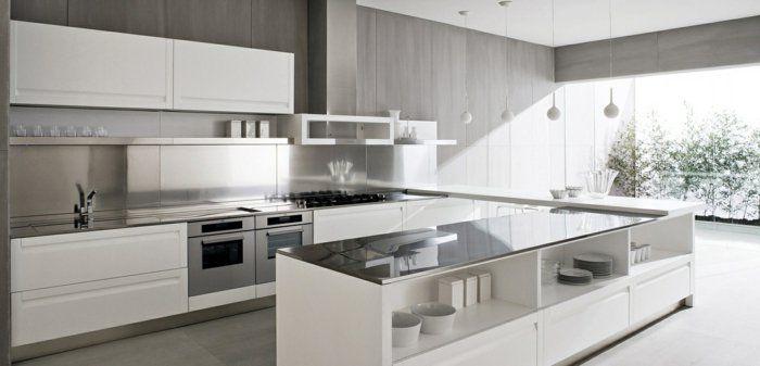 cuisines-blanches-avec-credence-couleur-blanc-murs-gris-meubles-de ...