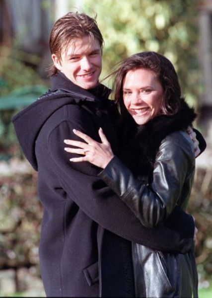 Celebrity Couples Who Have Been Together for Years  David Beckham and Victoria Adams, aka Posh and Becks, pose for photographers after the announcement of their engagement on January 25, 1998, in Chester, United Kingdom.